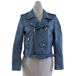 Zara Basic Women Medium Faux Leather Jacket Blue M